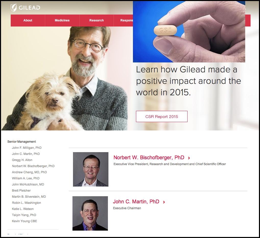 """Gilead, empresa comercializadora del fármaco en su web: """"aprende cómo Gilead realizada un impacto positivo en el mundo"""""""